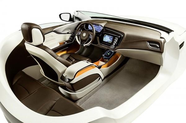 Das Bespoke-Interieur zeigt die Vision von Johnson Controls zur Integration von Elektronik, Innenraumkomponenten und Sitzen in Premiumfahrzeugen.