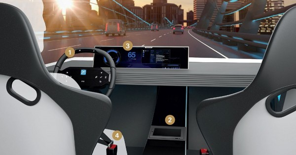 Vier praxisnahe Innovationsansätze des ZF Concept Cockpit für das hochautomatisierte Fahren: Integriert sind (1) ein spezielles Lenkrad u.a. mit Hands On Detection (HOD), (2) ein Display mit fühlbarer Touchoberfläche, (3) eine neuartige, hochpräzise Gesichts- und Emotionserkennung sowie (4) aktiv agierende und kommunizierende Sicherheitsgurte.