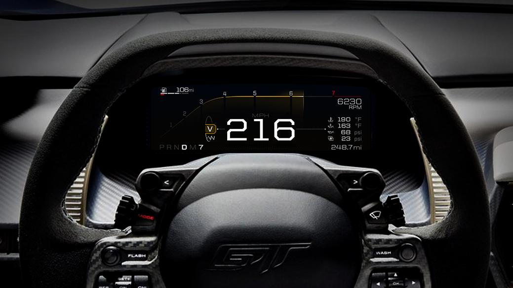 Ford GT Digitales Zehn-Zoll-Instrumenten-Display
