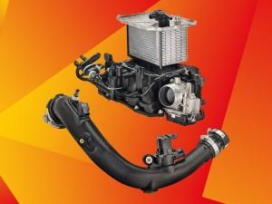Ladeluftverteiler mit integriertem Ladeluftkühler von Magneti Marelli und Ladeluftrohr von ABC Group. Bild: BASF