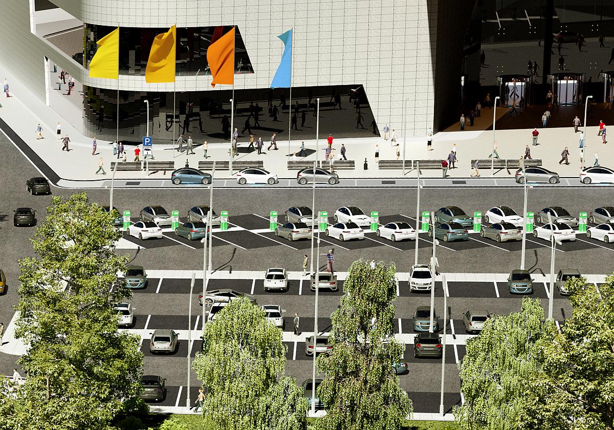 Anwendungsbeispiel: Kabelloses Laden auf dem Parklatz vor einem Einkaufszentrum