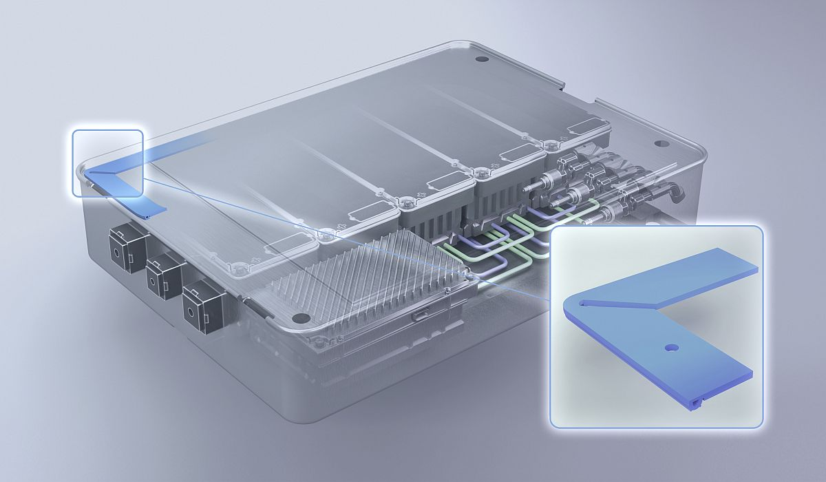 """Die P2G-Dichtung für Batteriegehäuse: Die Basisfunktionen """"Abdichten"""" und """"Befestigen"""" sind auf verschiedene Teile des Dichtungsprofils verteilt."""