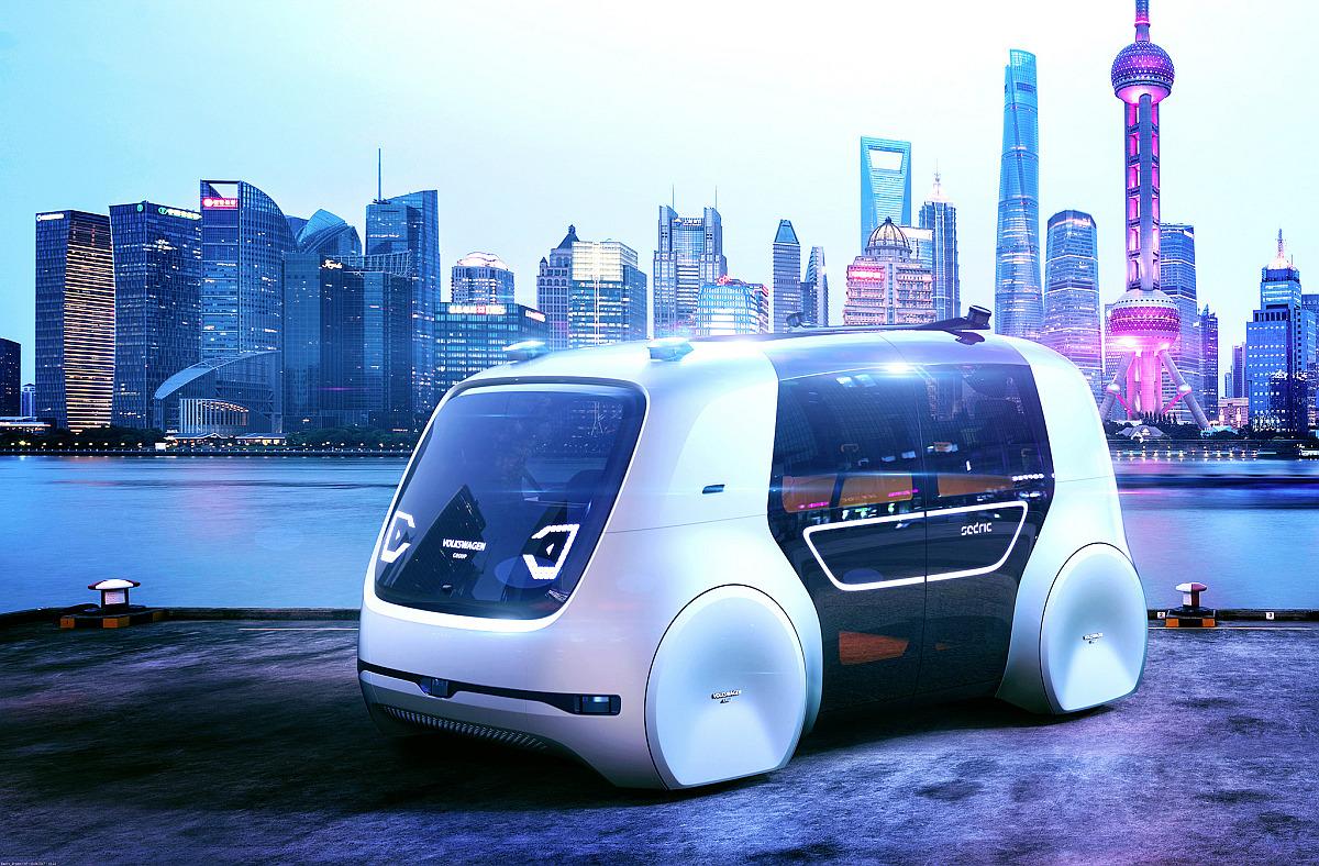 """Braucht künstliche Intelligenz: Die VW-Studie """"Sedric"""", ein autonom fahrendes Auto ohne Cockpit."""