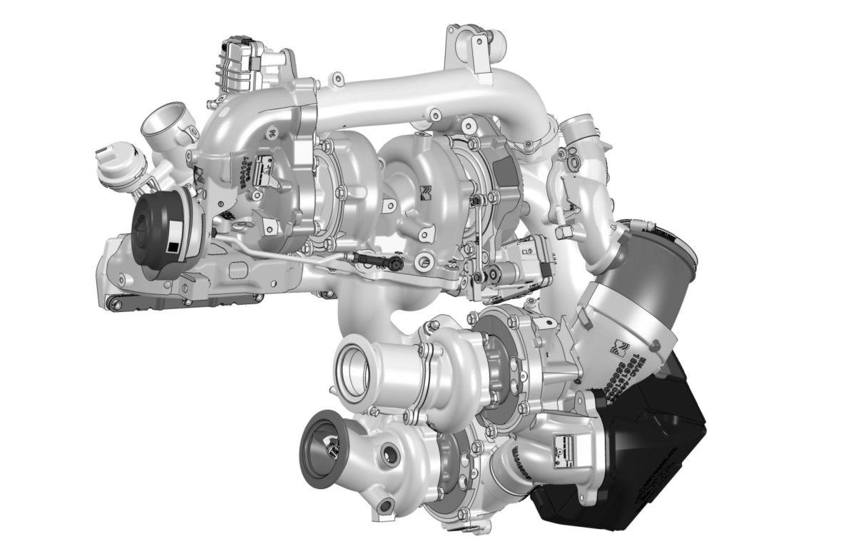 Borg Warners neue, weltweit erste zweistufige, geregelte Turboladertechnologie mit vier Turboladern für Pkw.  Bild: Borg Warner