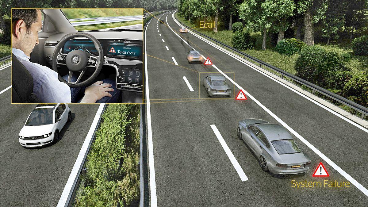 Hochautomatisierte Fahrzeuge sind aufgrund einer speziellen Elektronik-Architektur in der Lage, immer zuverlässig anhalten zu können. Bild: Continental