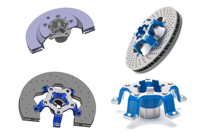 Konventionelle Radnabe und Bremsscheibe, Neuausführung CAD, prototypisch geschmiedete Radnabe mit Armen, Zusammenbau real (von links oben gegen den Uhrzeigersinn). Bild:Hirschvogel